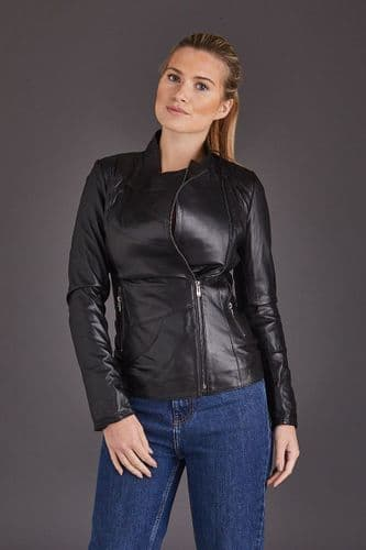 Black Leather Jacket Womens:Eva